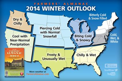 Farmers' Almanac predicts cold, snowy, winter 2014