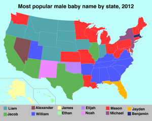 Most popular boys names by state