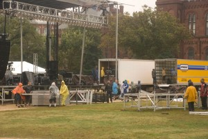 Illegals building stage on the mall