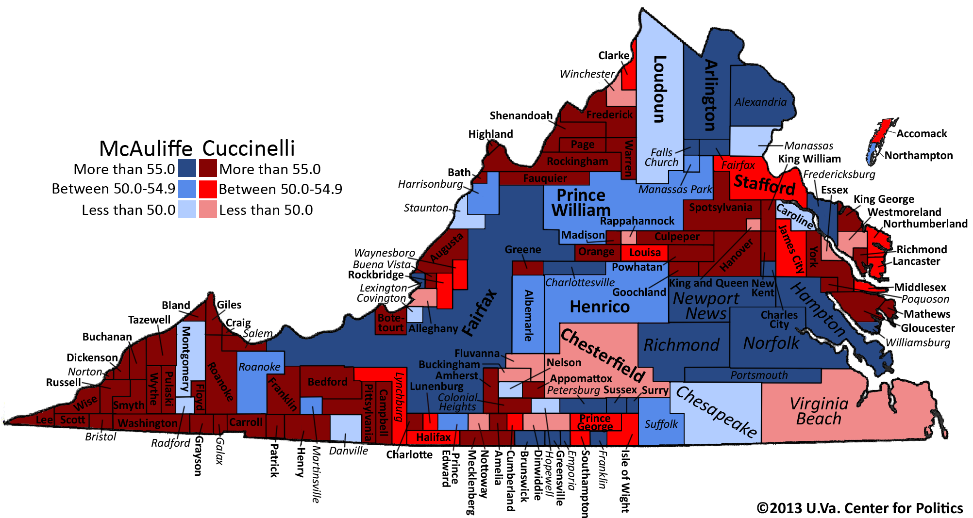 Political Map Of Virginia S Governor Race The Bull Elephant