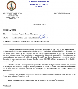 Del. Jones Memo to Colleagues - Click to Enlarge