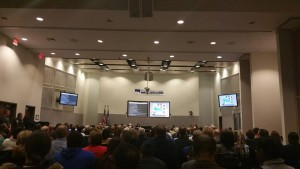 Packed attendance at a school board meeting
