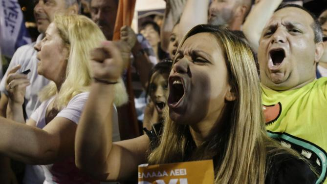 Supporters of the No vote react after the first results of the referendum at Syntagma square in Athens, Sunday, July 5, 2015. Greece faced an uncharted future as its interior ministry predicted Sunday that more than 60 percent of voters in a hastily called referendum had rejected creditors' demands for more austerity in exchange for rescue loans. (AP Photo/Petros Karadjias)