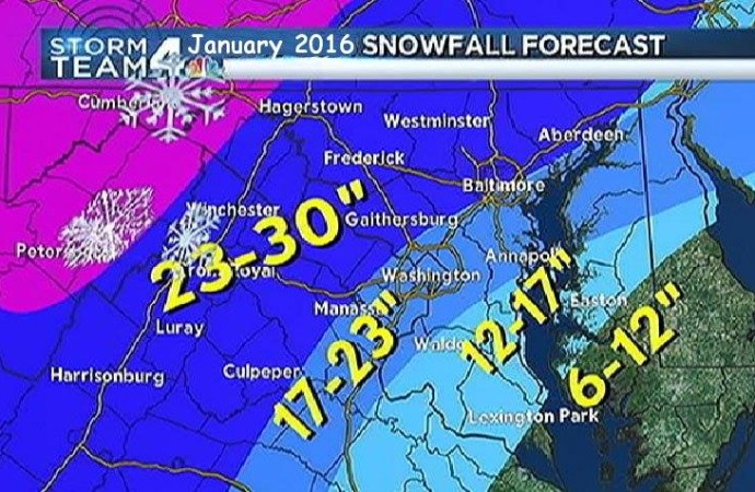 Snow forecast January 2016