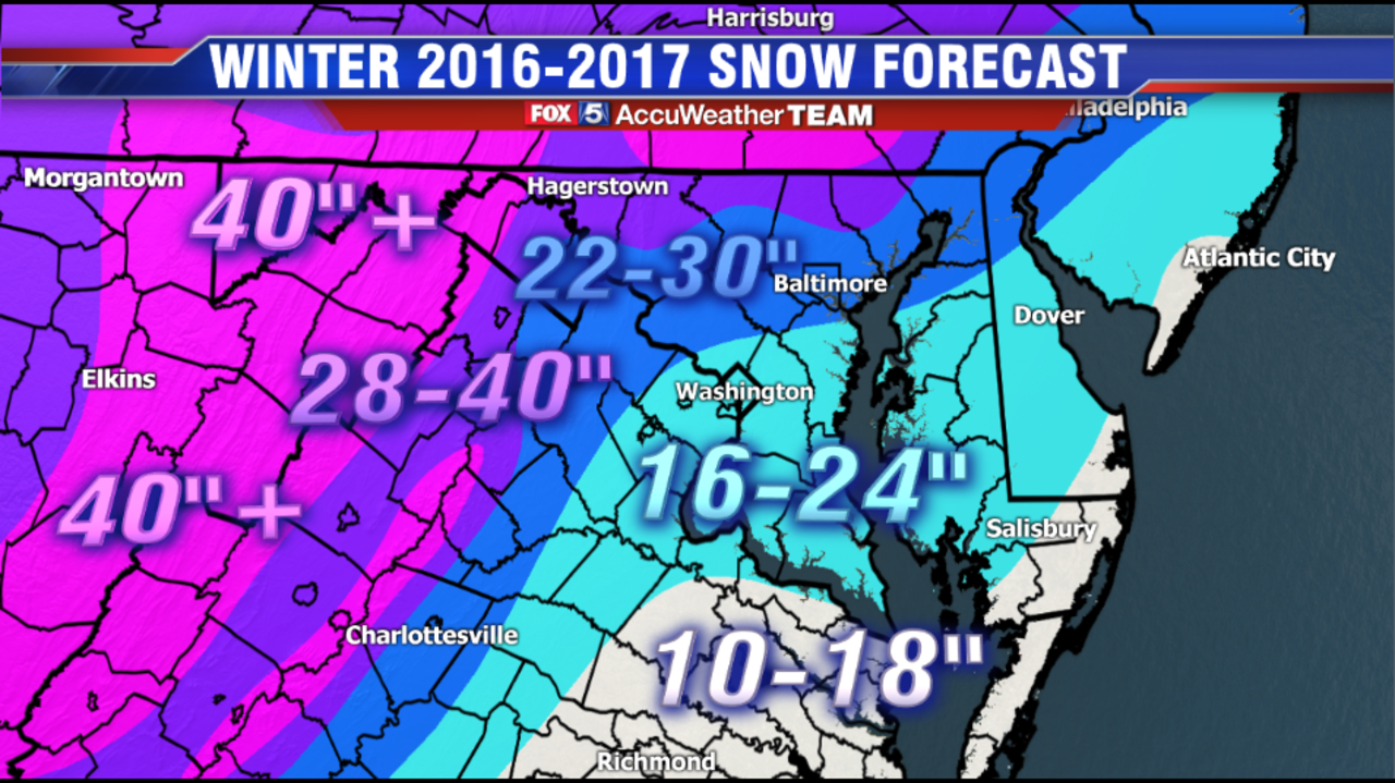 Winter Weather Forecast 2016-2017 for Virginia, Maryland and