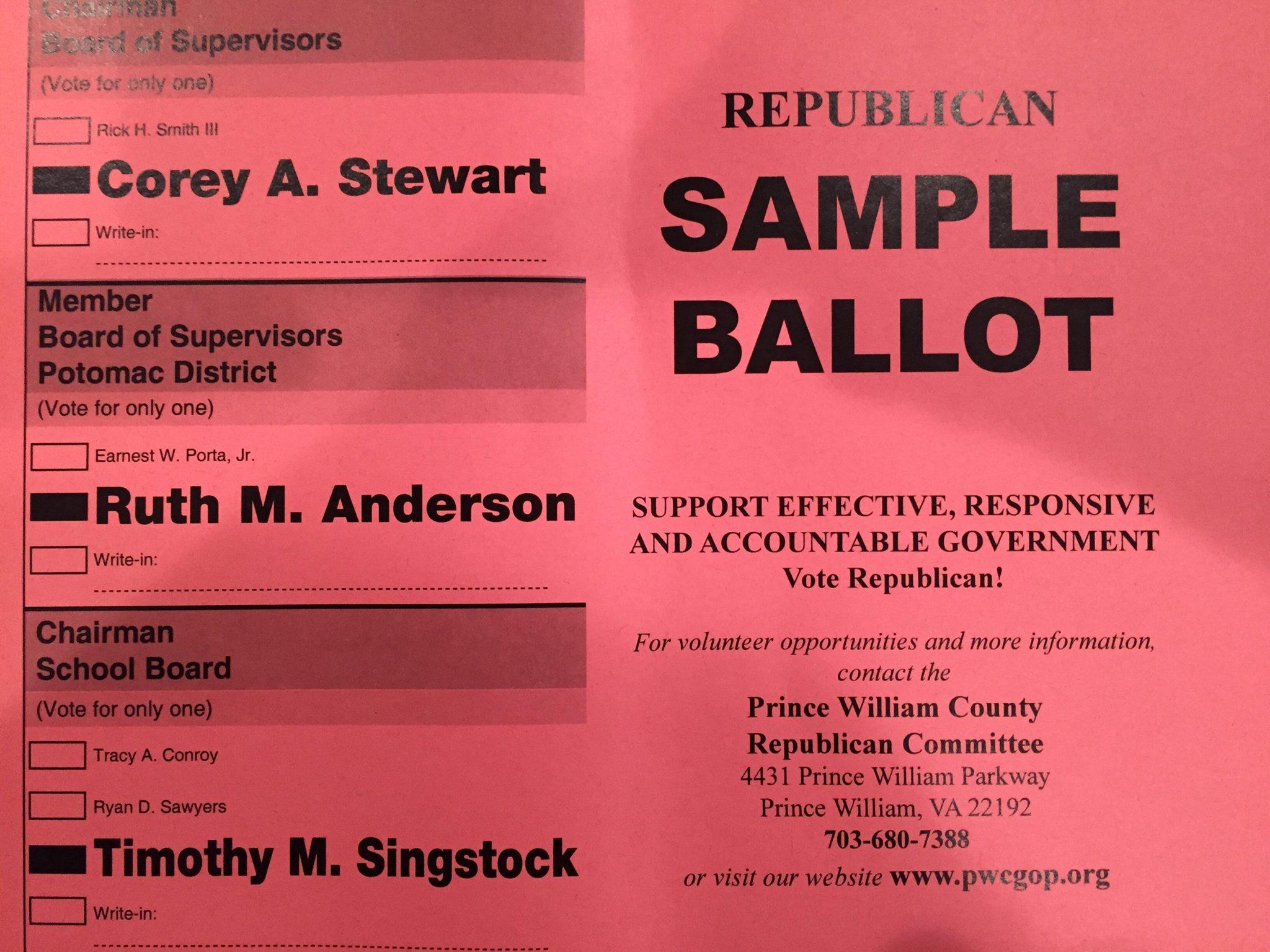 Potomac Supervisor Sample ballot.