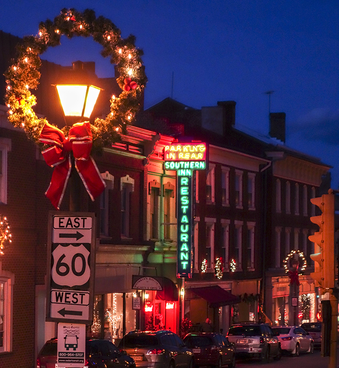 Downtown Lexington decorated for the holidays. Virginia Tourism Corporation, www.Virginia.org